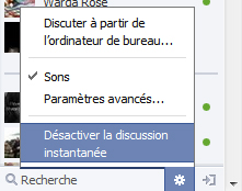 désactiver discussion fb