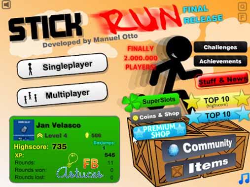 stick run sur Facebook