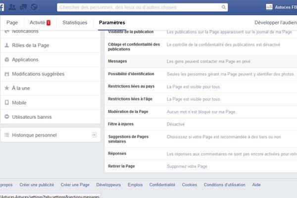fermer page fan face book