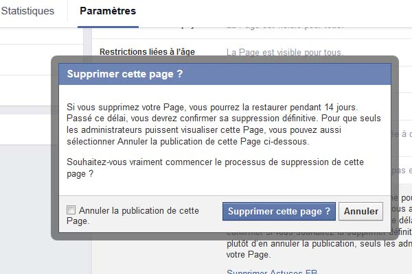 supprimer page fan facebook