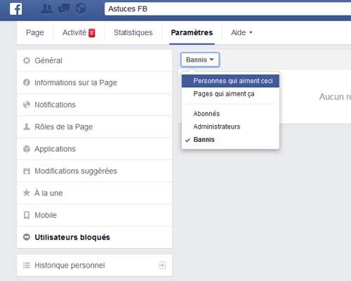 effacer fan Face book