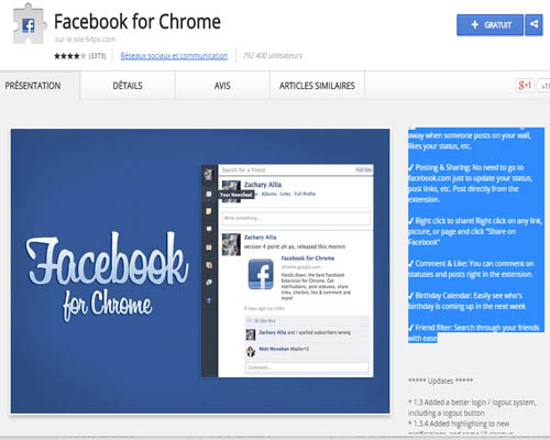 extension Facebook pour chrome