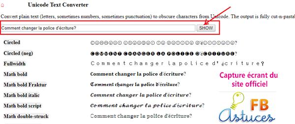 Nouveaux styles de publications Facebook avec le Unicode Text Converter