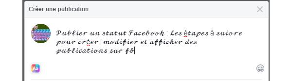Publier un statut Facebook