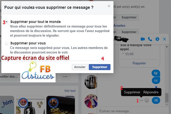 Effacer les messages envoyé sur Facebook: